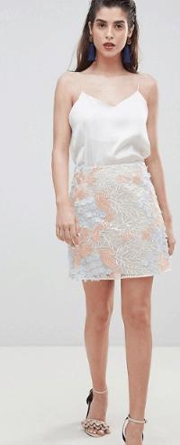 Floral, mini length A-line skirt