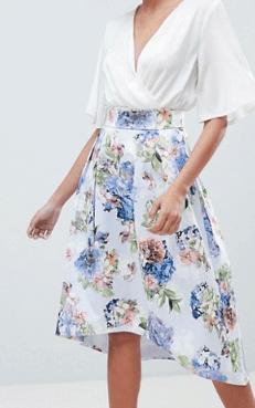 Floral midi length A-line Skirt