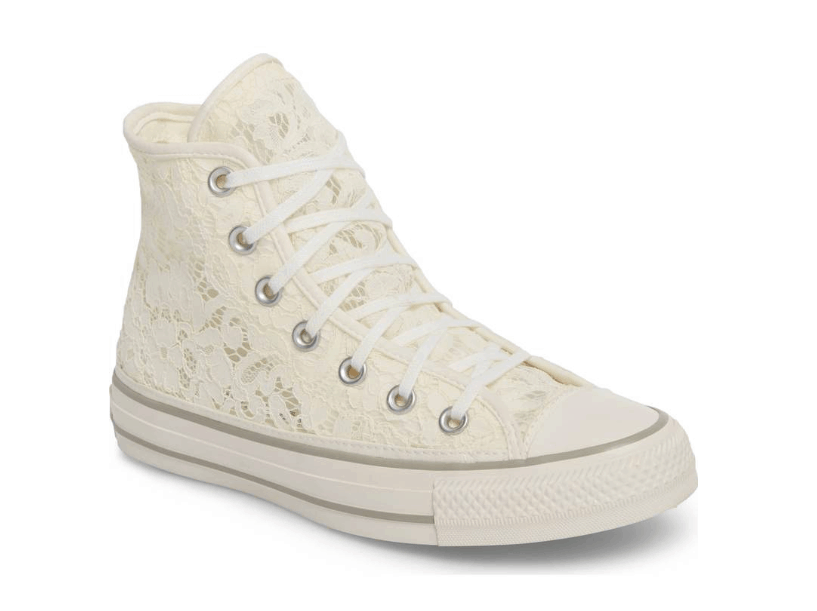 White lace Converse sneakers