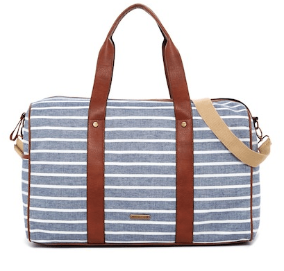 striped weekender bag with leather strap