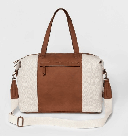 Cream and tan weekender bag