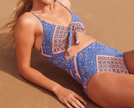 Blue and peach one-piece swimsuit with front cutout