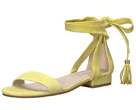 yellow strappy sandals from Amazon Prime Wardrobe