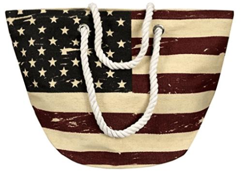 American flag styled tote bag