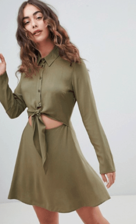 Olive green shirt dress with tie