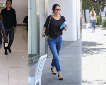 Three celebrities wearing black tops with denim