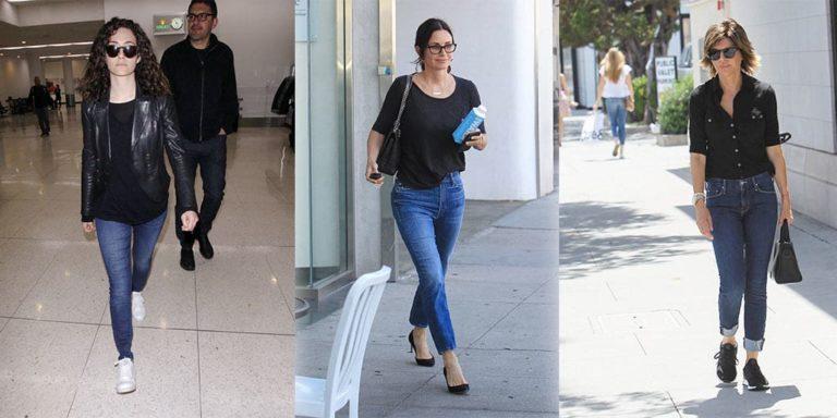 Three celebrities wearing black tops with denim