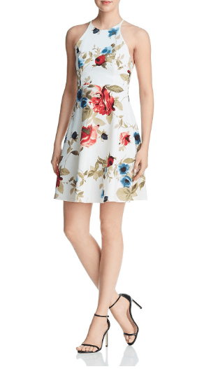 Floral printed dress, short length