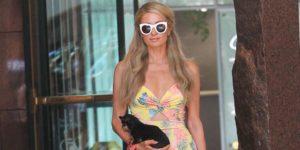 Paris hilton style: yellow maxi dress