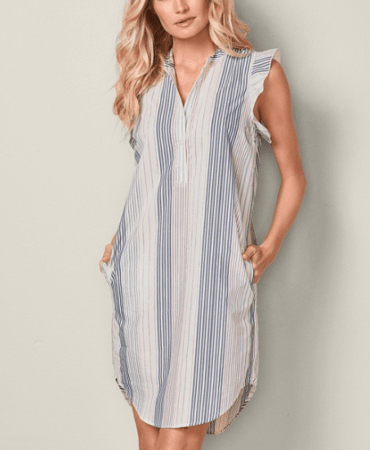 Red and blue striped shirt dress