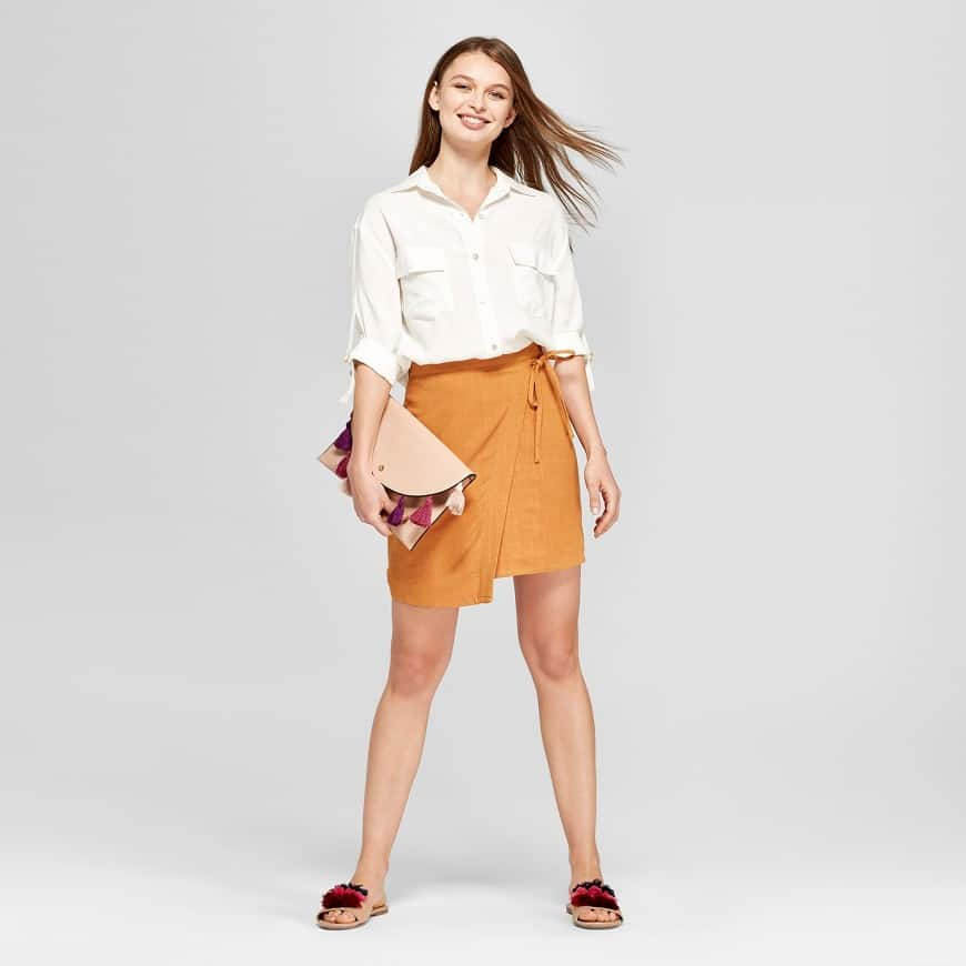 Mustard wrap skirt from Target