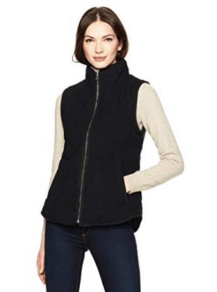 Black zip front vest by Amazon fashion label Haven