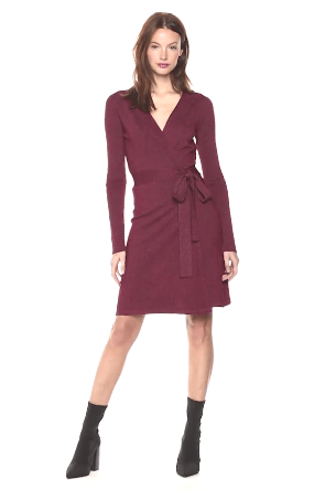 Maroon wrap dress from Cable Stitch by Amazon