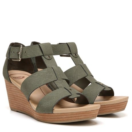 Wedge sandales with olive green strap