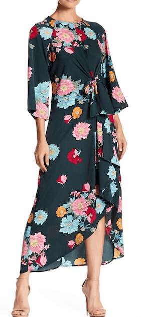 Long, floral tie-front dress