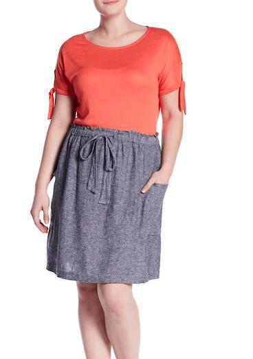 Gray linen drawstring skirt