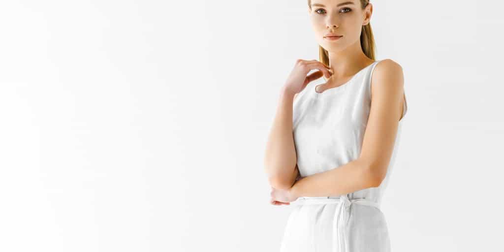 Woman wearing linen dress