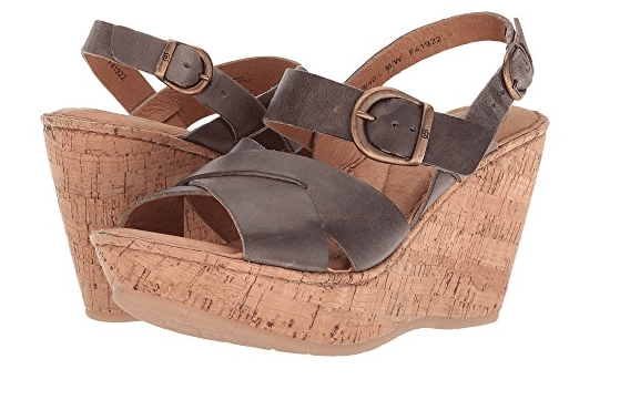 Wedges with dark brown strap