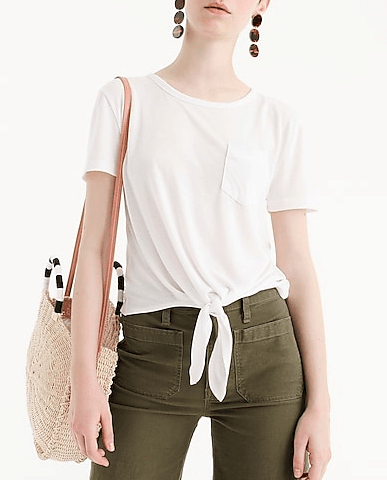 J Crew Knotted Pocket Front Tee