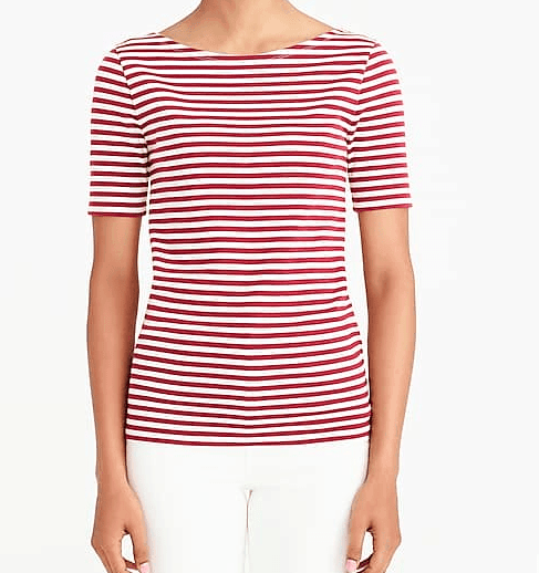 Red striped top from J Crew