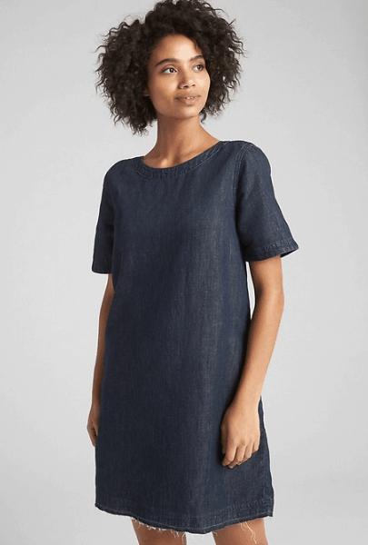 Fall denim shift dress