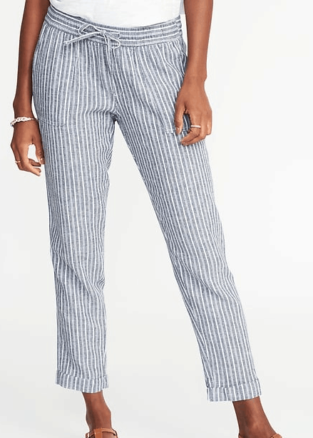 Old Navy pants with horizontal stripes