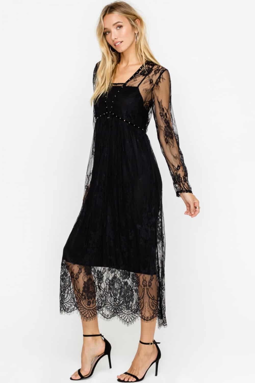 Black cocktail wear with lace detail