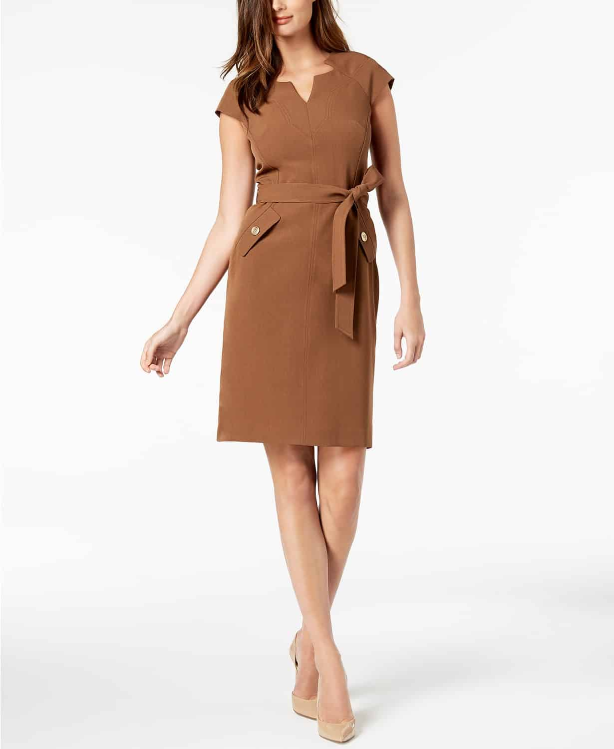 Belted brown sheath dress
