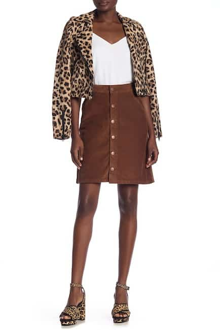 Brown button-front skirt