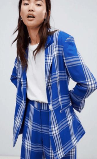 ASOS Blue and White Plaid Blazer