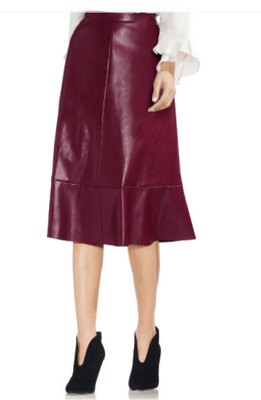 Dark red faux leather midi skirt