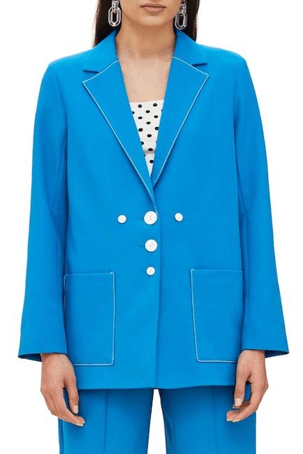 Bright blue stitched women's suit set