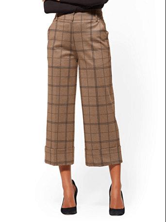 Brown check wide-legged pants