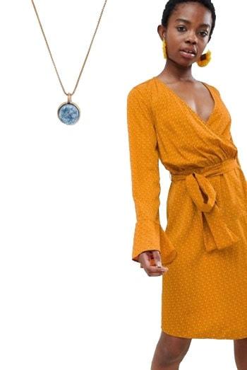 Yellow polka dot wrap dress from ASOS
