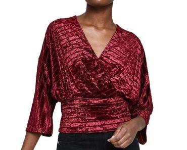 Red velvet wrap top