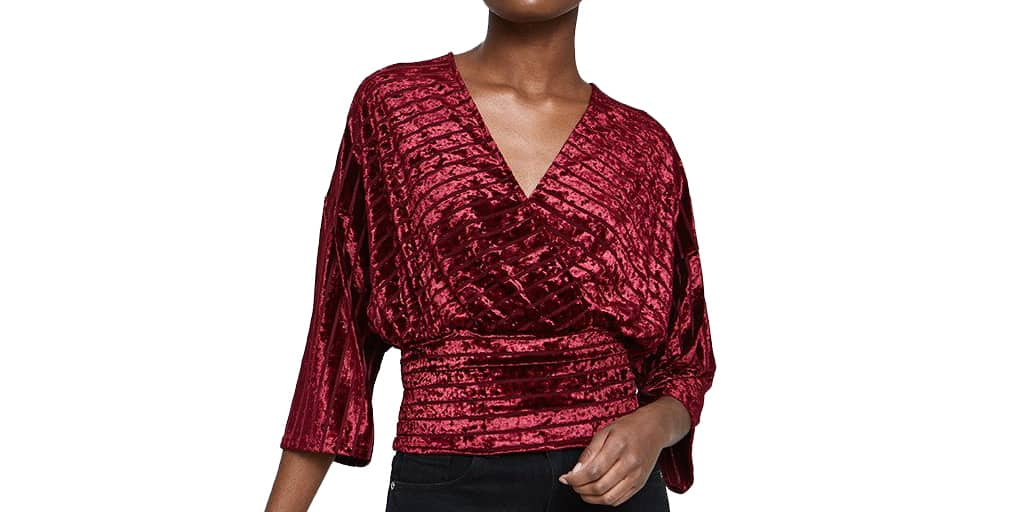 Red velvet wrap top