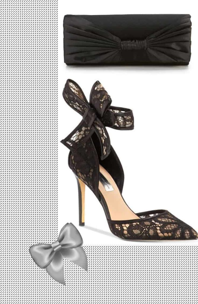 Heeled show with bow detail and black clutch with bow