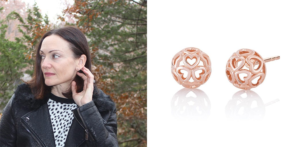 Catherine Brock The Budget Fashionista wearing Chamilia Blush earrings