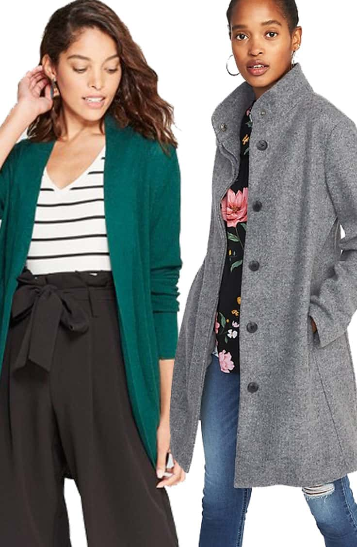 Green Cardi and Funnel Neck Coat: Layering Outfits