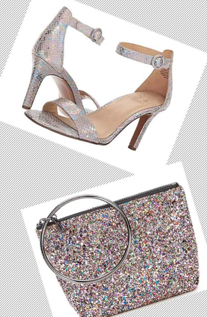 Iridescent shoes and shiny holiday clutch