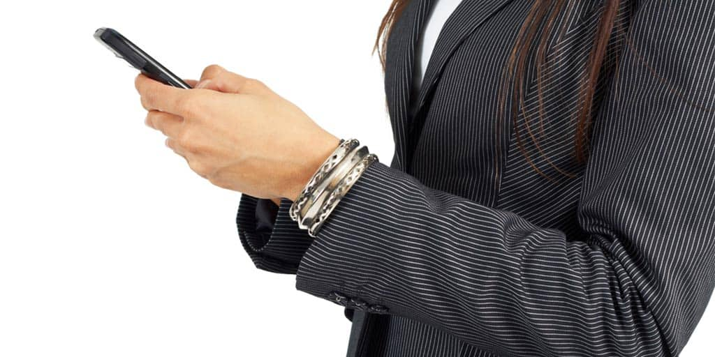 Woman wearing pinstripe jacket