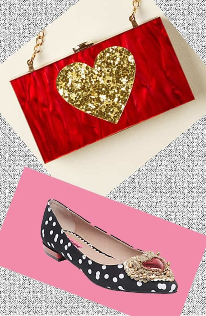 Polka dot flat and red clutch with gold heart