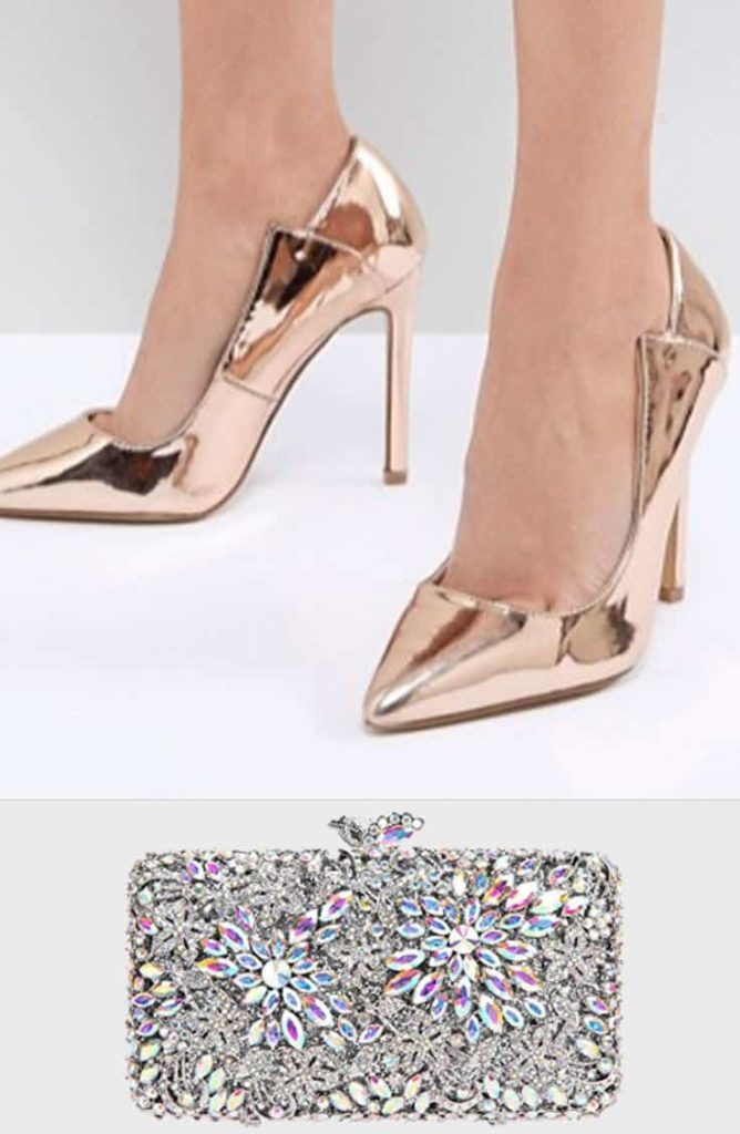 Rose gold shoes and bling holiday clutch