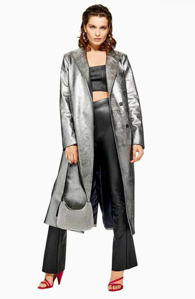 Long metallic silver coat