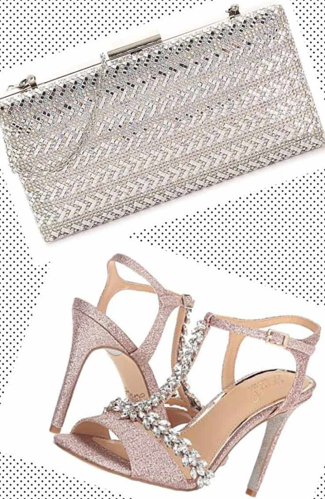 Sparkly metal clutch and rhinestone shoes