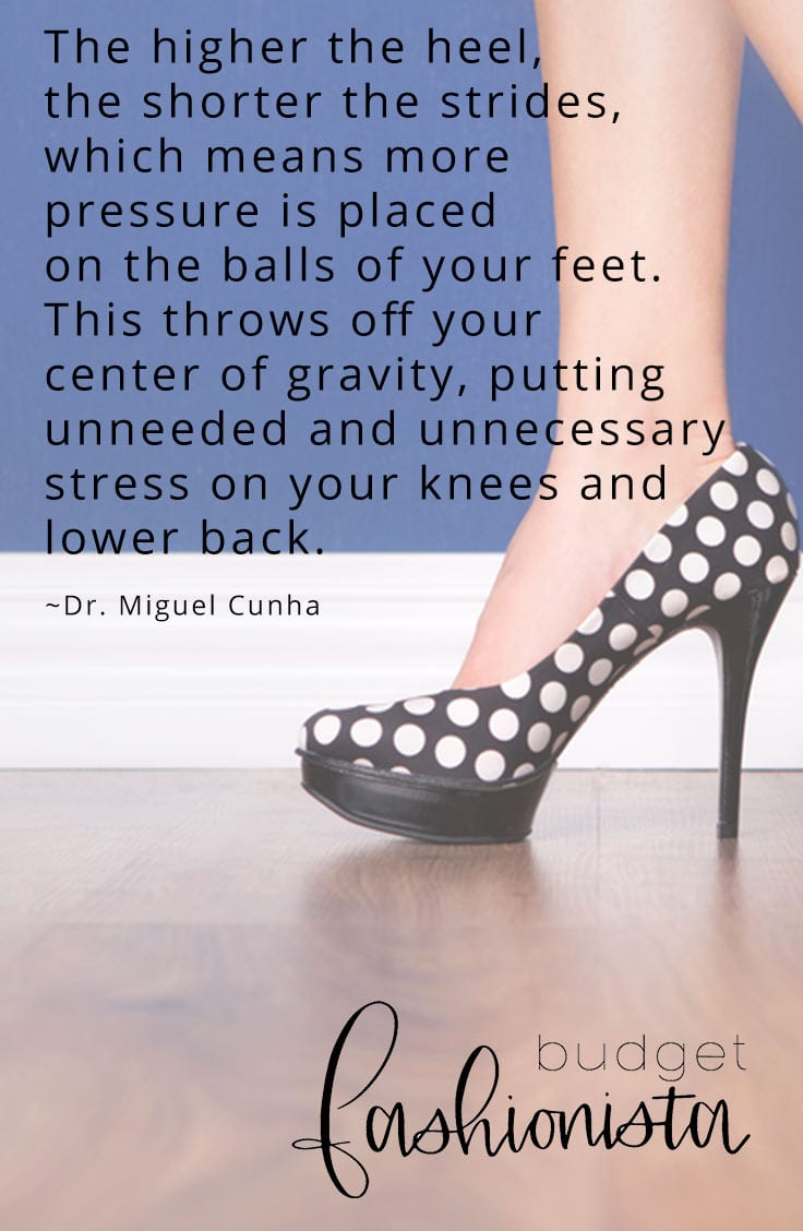 Stilettos with an overlaid quote about how they affect your feet
