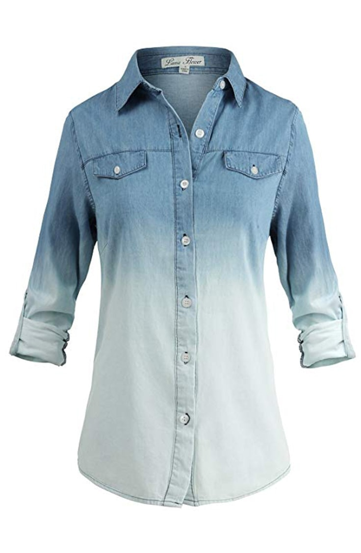 Button down denim ombre shirt for women
