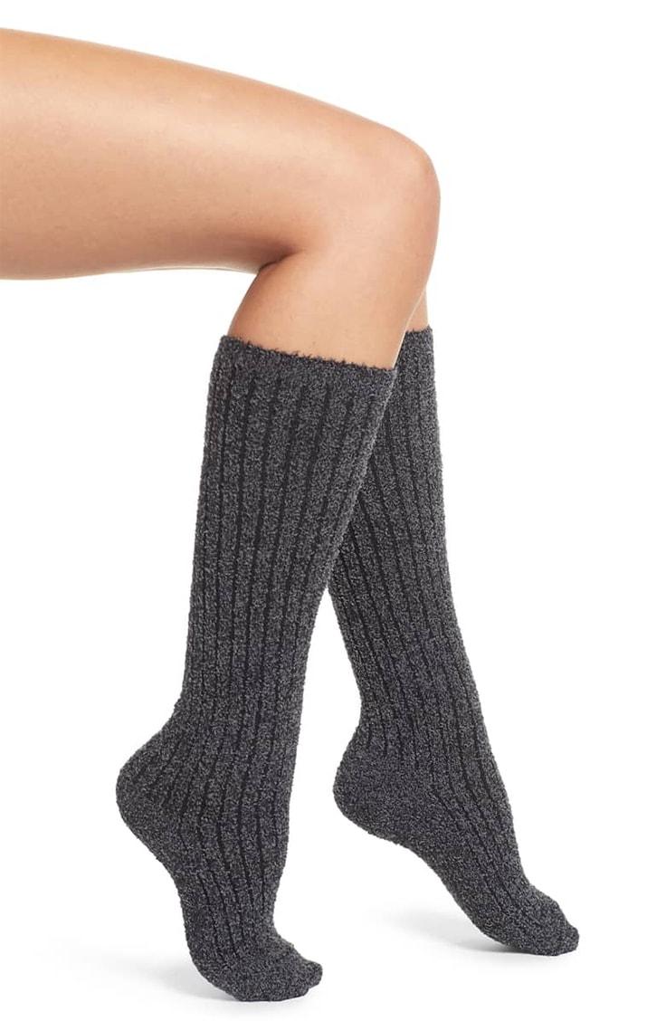 Barefoot Dreams knee-high ribbed socks