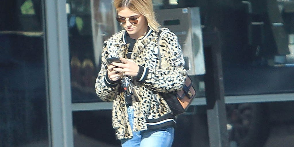 Lucy Hale wearing animal print bomber