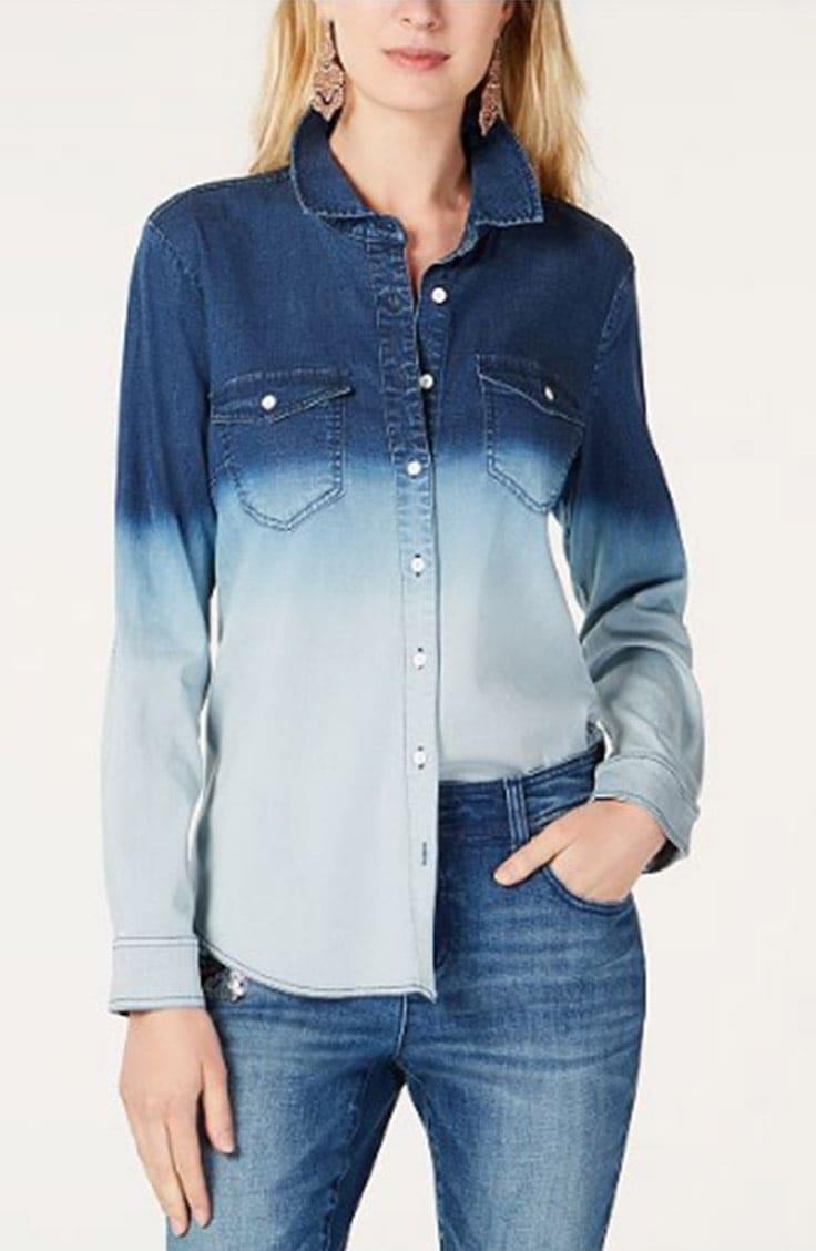 Long-sleeved, button down denim ombre shirt